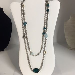 Chico's silver & teal strung beads long necklace